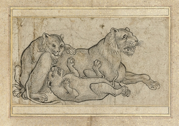 A DRAWING OF LIONS, IRAN, 18TH