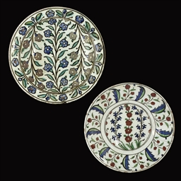 TWO OTTOMAN IZNIK DISHES, TURK