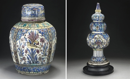 A QAJAR POLYCHROME URN AND LID
