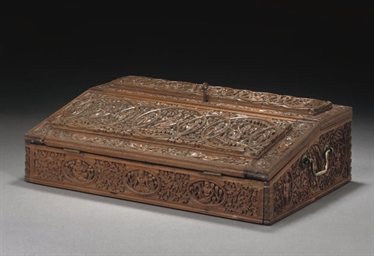 A CARVED SANDLEWOOD BOX, SRI L