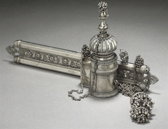 A LARGE SILVER PLATED QALAMDAN