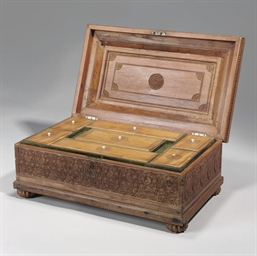 A CARVED WOOD WRITING BOX, MYS
