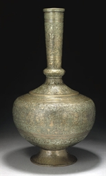 A LARGE REPOUSSE BRASS VASE, S