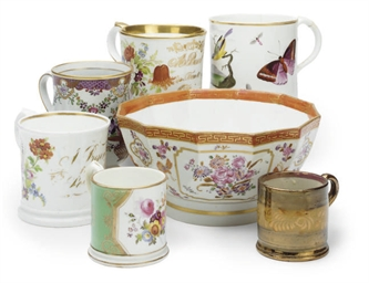 A COLLECTION OF SIX MUGS AND A