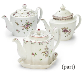 FIVE ENGLISH PORCELAIN TEAPOTS