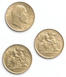 THREE EDWARD VII HALF SOVEREIG