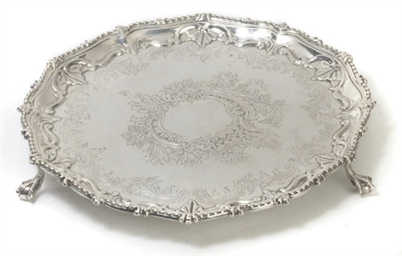 A VICTORIAN SILVER SALVER IN T