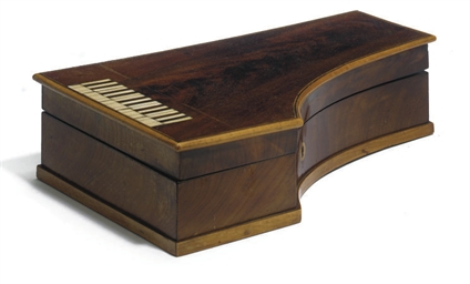A FRENCH MAHOGANY PIANO-SHAPED