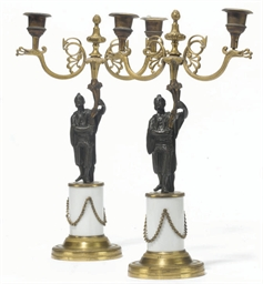A PAIR OF BRONZE, GILT-BRONZE