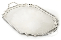 A LARGE SILVER TWO-HANDLED TRAY