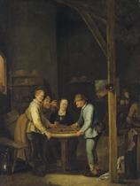 Paysans jouant dans un intérieur