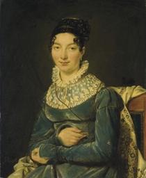 Portrait d'une dame en robe bl