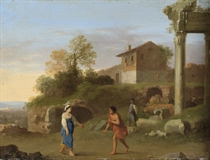 A classical landscape with figures on a path in the foreground