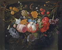 A swag of flowers hanging in a niche, with gooseberries, strawberries, roses, plums, an iris, a daisy and a spider