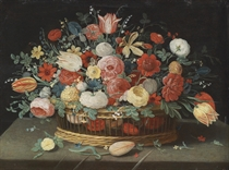 Roses, tulips, irises and other flowers in a basket, on a draped table strewn with flowers and foliage