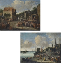 A village square with a crowd watching a commedia dell'arte spectacle; and A capriccio view of Antwerp with fishermen unloading their catch and selling their wares