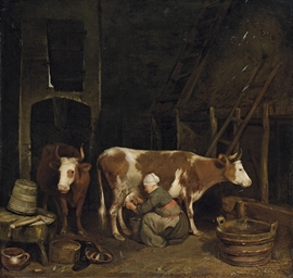 A milkmaid milking cows in a b