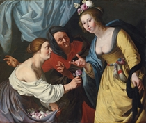 An allegory of youth and old age: A lady offering flowers to a young woman, with an elderly lady beyond