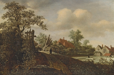 A landscape with a figure on a
