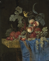 Plums, strawberries, peaches, grapes, redcurrants and gooseberries with a finch, on a partly-draped marble ledge