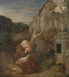 A hermit praying before a tomb