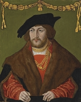 Portrait of a gentleman, bust-length, in a red doublet with a brown fur cloak, a gold chain and a black cap