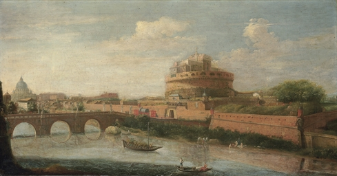 Rome: A view of the Tiber, wit