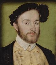 Portrait of Charles de la Rochefoucauld (1525-1562), seigneur de Randan, bust-length, in a slashed doublet, black coat and feathered cap