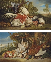 A dead cockerel, ducks, a pigeon, a greenfinch and mushrooms in an Italianate landscape; and A dead pheasant, partridges, goldfinches, quails and apricots, plums and peaches in an Italianate landscape