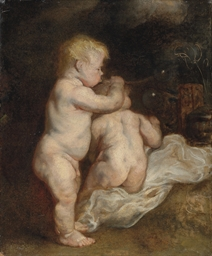 A vanitas: Two boys blowing so