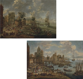 A capriccio of a busy port wit