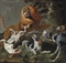 A lion attacked by a pack of hounds in a wooded landscape