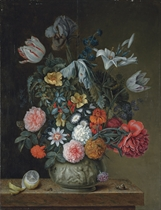 Roses, tulips, lilies, an iris and other flowers in a porcelain vase on a stone ledge, with partly-peeled lemon, a snail and other insects