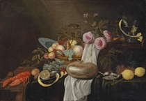 Still life with a lobster, a peeled lemon, a basket of fruit, a nautilus shell with a pipe, an oyster, roses, a roemer, a locked strongbox, grapes and lemons on a draped table