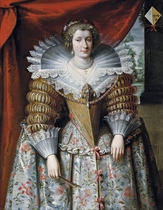 Portrait of a noblewoman, three-quarter-length, in a richly gold-embroidered dress and a jewelled brooch, a garden beyond