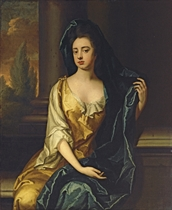 Portrait of a lady, traditionally identified as Frances Whitelocke (1614-1649), daughter of William, Lord Willoughby of Parham, three-quarter-length, in a yellow dress with a blue shawl, beside a column, a landscape beyond