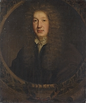 Portrait of John Dryden (1631-1700), poet and dramatist, half-length, in a black coat and white shirt with gold fastenings, in a sculpted cartouche with a laurel leaf wreath