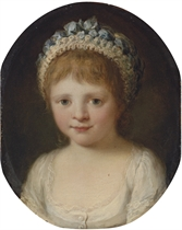 Portrait of a girl, possibly Theresa Robinson (1775-1856), daughter of John Parker, 1st Lord Boringdon, bust-length, in a white dress, with a cap decorated with blue ribbons