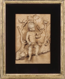 A FRAMED TERRACOTTA RELIEF PAN