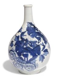 A Japanese Blue and white bott