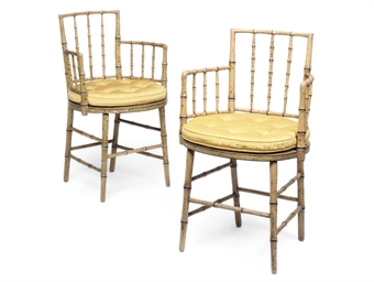 A PAIR OF REGENCY PAINTED SIMU