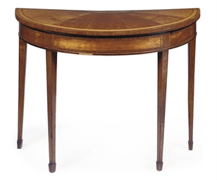 A GEORGE III SATINWOOD DEMI-LU