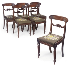 A SET OF SIX WILLIAM IV MAHOGA