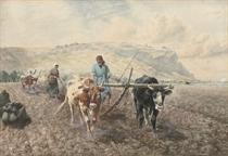 Tilling the fields before Mount Carmel