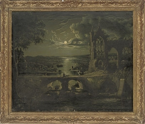 A moonlit view of a river with