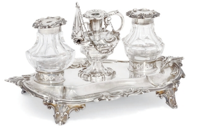 A VICTORIAN SILVER TWO-BOTTLE