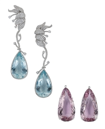 A STYLISH PAIR OF AQUAMARINE,