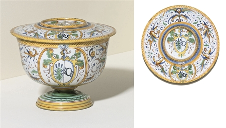 AN URBINO ARMORIAL BOWL AND CO