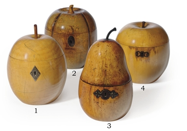 A FRUITWOOD APPLE-FORM TEA-CAD