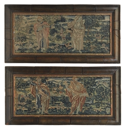 A PAIR OF NEEDLEWORK PANELS